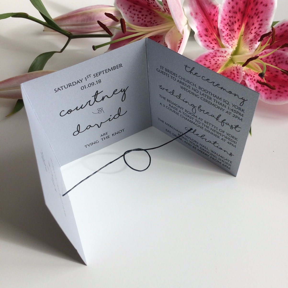 Silver 'Waves' Invitation